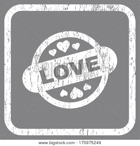 Love Stamp Seal rubber watermark. Vector icon symbol inside rounded rectangle with grunge design and scratched texture. Stamp seal illustration. Unclean white ink sticker on a gray background.