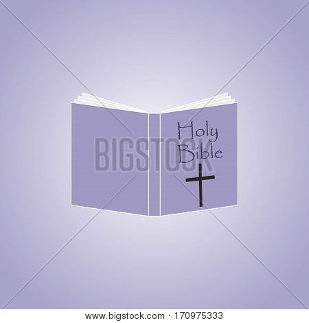 Holy Bible Icon open book on violet background.