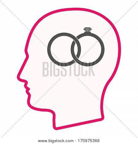 Isolated Male Head With  Two Bonded Wedding Rings