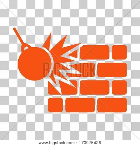 Destruction icon. Vector illustration style is flat iconic symbol orange color transparent background. Designed for web and software interfaces.