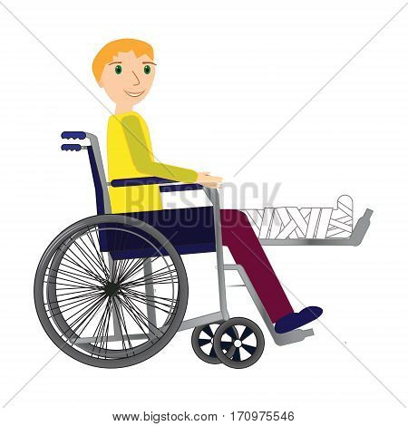 Young Man in a wheelchair with broken bone