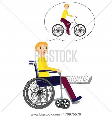 Young Man in a wheelchair with broken bone dreaming about riding bicycle.