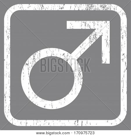 Mars Male Symbol rubber watermark. Vector icon symbol inside rounded rectangular frame with grunge design and dust texture. Stamp seal illustration. Unclean white ink emblem on a gray background.