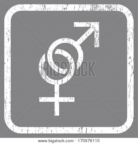 Sex Symbol rubber watermark. Vector icon symbol inside rounded rectangle with grunge design and unclean texture. Stamp seal illustration. Unclean white ink emblem on a gray background.