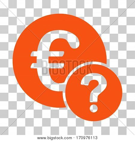 Euro Status icon. Vector illustration style is flat iconic symbol orange color transparent background. Designed for web and software interfaces.