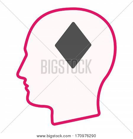 Isolated Male Head With  The  Diamond  Poker Playing Card Sign