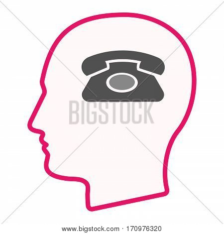 Isolated Male Head With  A Retro Telephone Sign