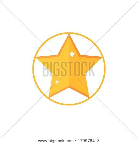 Flat star. Star vector illustration. Single color symbol on white background. Color star for web design. Star isolated vector icon.