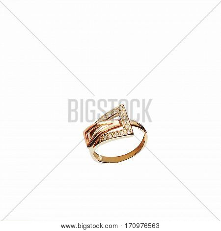 fashionable gold ring with a small diamonds