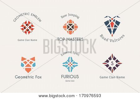 Geometric logo template set. Vector symbols for alternative or extreme sport teams and crews