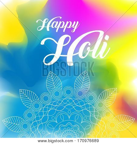 Happy Holi greeting vector background concept design element with realistic volumetric colorful Holi powder paint clouds and sample text. Blue, yellow, pink and violet powder paint