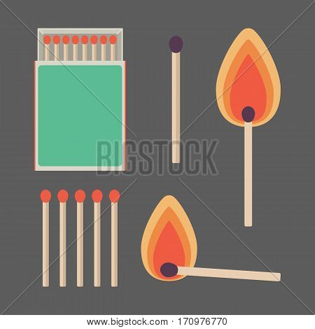 Match sticks and box set. Flat design of matchsticks and matchbox on the dark background. Vector illustration
