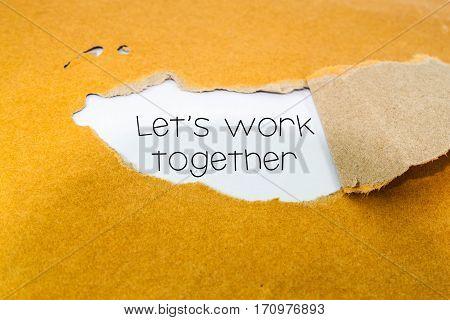 Let's work together concept on brown envelope