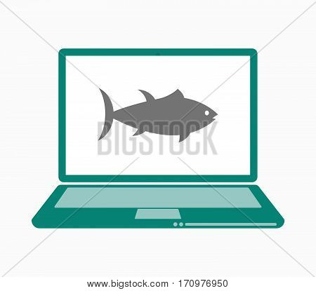 Isolated Laptop With  A Tuna Fish