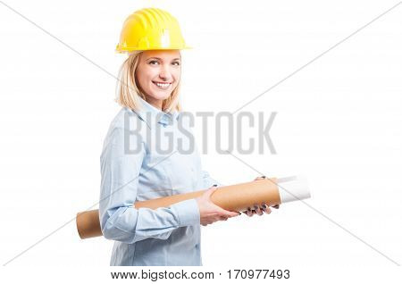 Woman Architect Wearing Yellow Helmet Holding Blueprints