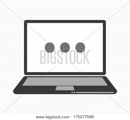 Isolated Laptop With  An Ellipsis Orthographic Sign