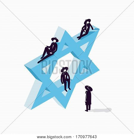 Israel, Star of David, vector isometric concept illustration, 3d icon
