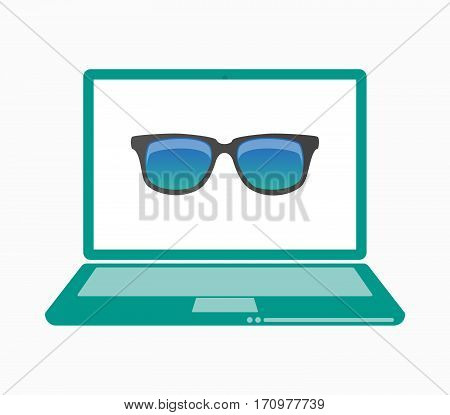 Isolated Laptop With  A Sunglasses Icon