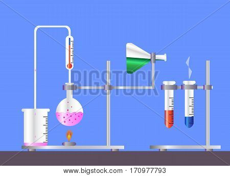 concept of chemistry experiment on blue background vector illustration . Chemistry laboratory workspace