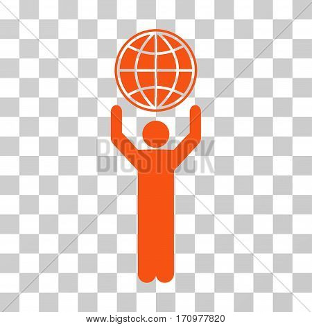 Globalist icon. Vector illustration style is flat iconic symbol orange color transparent background. Designed for web and software interfaces.