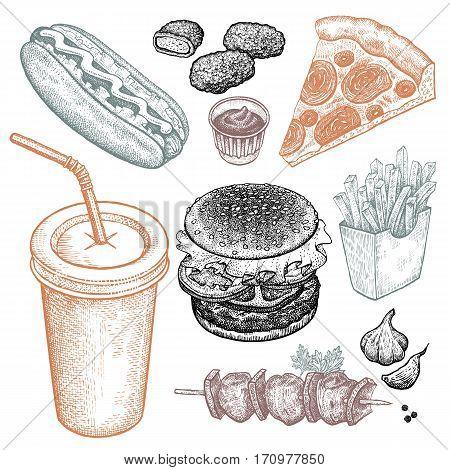 Fast food and drink. Burger fries pizza nuggets kebabs hot dog beverage isolated on white background. Designed for fast food restaurants and cafes. Vector illustration art set. Vintage.