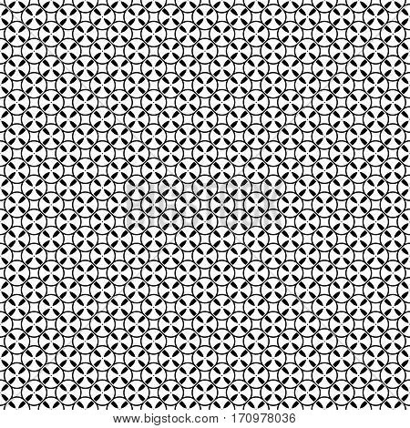 Vector monochrome seamless pattern. Simple black & white repeat geometric texture. Illustration of tapes, spools. Abstract endless background, repeating tiles. Modern design element for decoration, prints, textile, cloth, digital, web