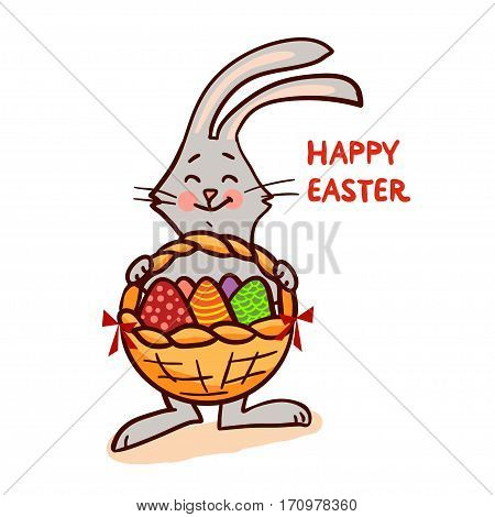 Easter bunny with basket isolated on white background. Vector illustration.