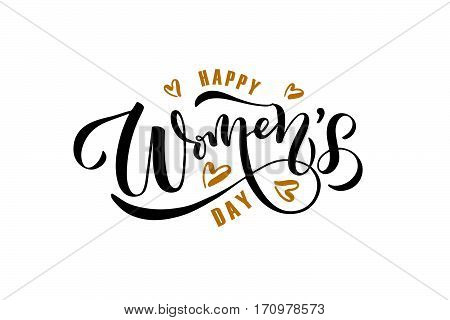 Happy Women's Day Text As International Women's Day Badge, Tag And Icon