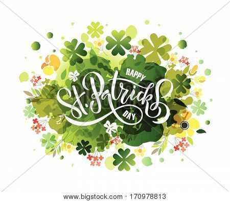 St.patricks Day Celebration Design On Textured Background. Lettering Typography.
