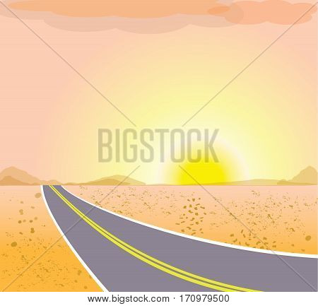 The road in the desert at sunset. Vector landscape