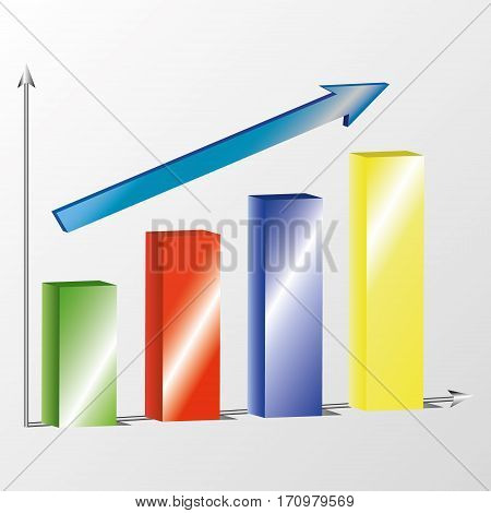 Business diagram 3d with arrow on grey background
