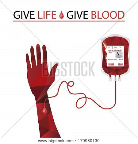 Vector illustration Blood donation and blood transfusion concept