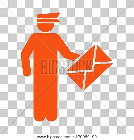 Postman icon. Vector illustration style is flat iconic symbol orange color transparent background. Designed for web and software interfaces.