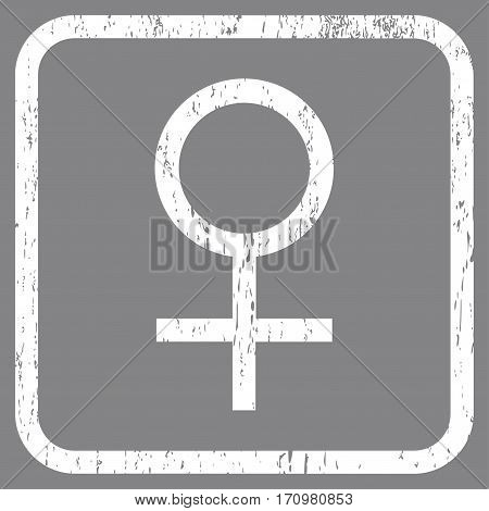 Venus Female Symbol rubber watermark. Vector icon symbol inside rounded rectangle with grunge design and dust texture. Stamp seal illustration. Unclean white ink sign on a gray background.
