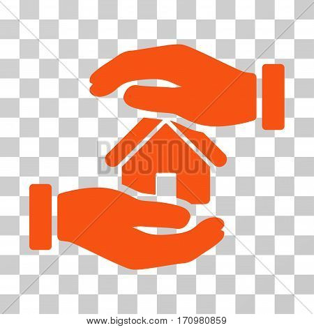 Realty Insurance icon. Vector illustration style is flat iconic symbol orange color transparent background. Designed for web and software interfaces.