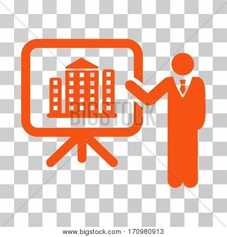 Realty Presention icon. Vector illustration style is flat iconic symbol orange color transparent background. Designed for web and software interfaces.