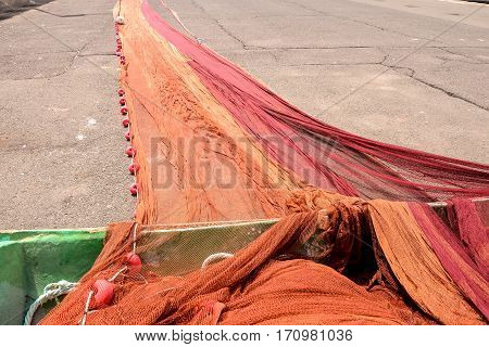 Fishing Net At An Old Port