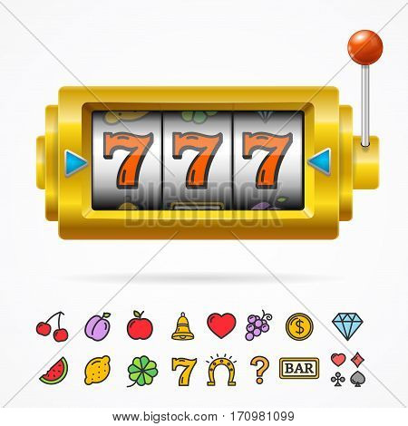 Realistic Slot Machine with One Arm Gambling and Color Icons Set Symbol of Games Casino Luck. Vector illustration
