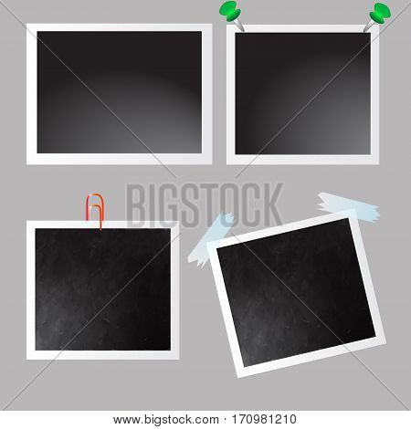 Collection of vector blank photo frames on grey background.Scotch tape.iron pin.