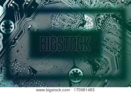 Circuit board rectangular frame. Dark transparent silhouette in the middle light at the sides. Copy space for your text in the middle. Background for your information technology business presentation