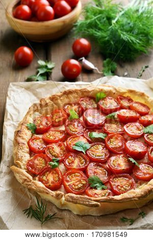Baking Tomatoes and cheese pie over paper