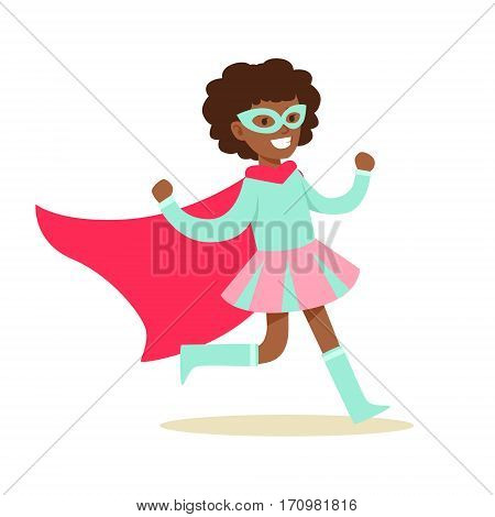 Girl Pretending To Have Super Powers Dressed In Pink And BLue Superhero Costume With Cape And Mask Smiling Character. Halloween Party Disguised Kid In Comics Hero Outfit Vector Illustration.