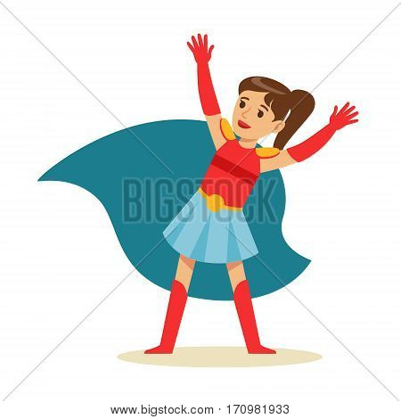 Girl With Ponytail Pretending To Have Super Powers Dressed In Superhero Costume With Blue Cape Smiling Character. Halloween Party Disguised Kid In Comics Hero Outfit Vector Illustration.