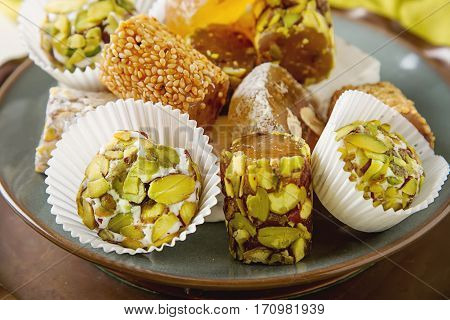 Eastern Sweets. Turkish Delight With Pistachios In A Vase. The F