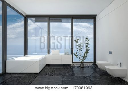 Bathroom of hotel room or penthouse in minimalist interior black and white design with floor-to-ceiling panoramic windows and indoor plant. 3d rendering.