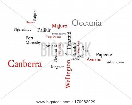 Conceptual Oceania map in black and red font isolated on white. Vector illustration.