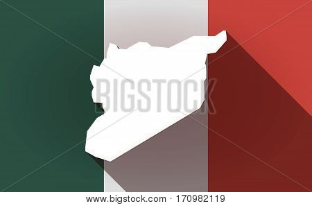 Long Shadow Mexico Flag With  The Map Of Syria