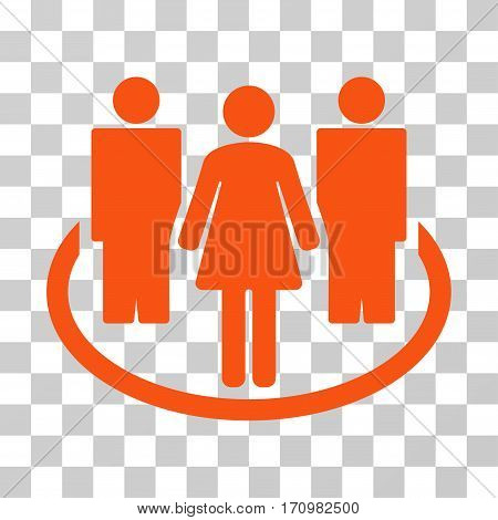 Society icon. Vector illustration style is flat iconic symbol orange color transparent background. Designed for web and software interfaces.