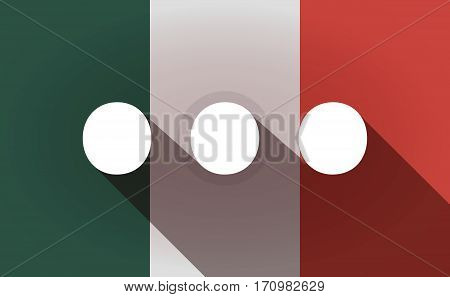 Long Shadow Mexico Flag With  An Ellipsis Orthographic Sign