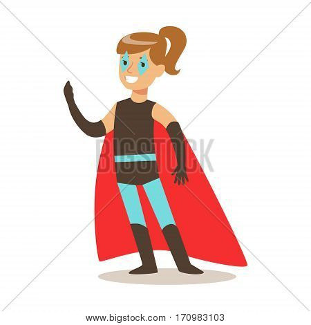 Girl Pretending To Have Super Powers Dressed In Superhero Costume With Red Cape And Make Up Smiling Character. Halloween Party Disguised Kid In Comics Hero Outfit Vector Illustration.